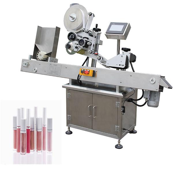 Horizontální automatické farmaceutické etiketovací zařízení pro malé lahve